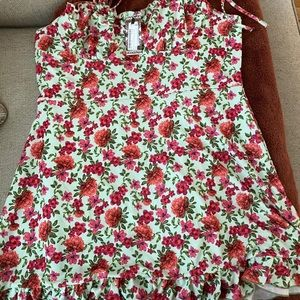 Plus floral ruched cup skater dress